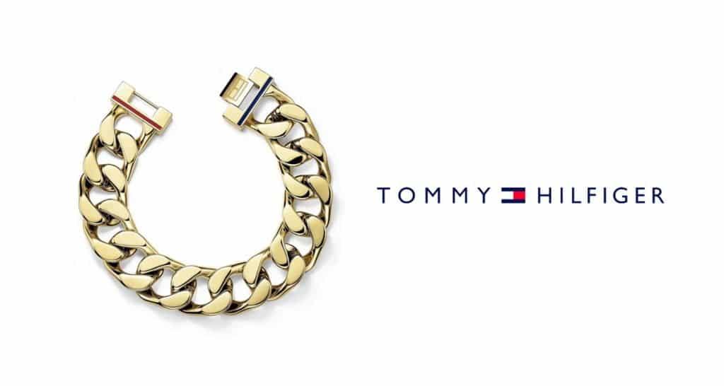 Az arany ékszer a férfiak körében is népszerű - a képen egy arany Tommy Hilfiger karkötő látható