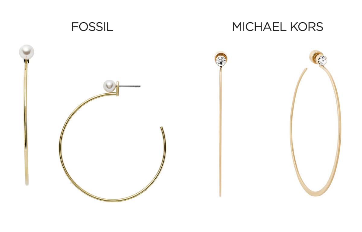 Fossil és Michael Kors karika fülbevaló
